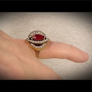 RUBY RING SIZE 7.5 Solid 925 Sterling Silver/Gold